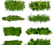 PS绿色草坪植被树叶笔刷
