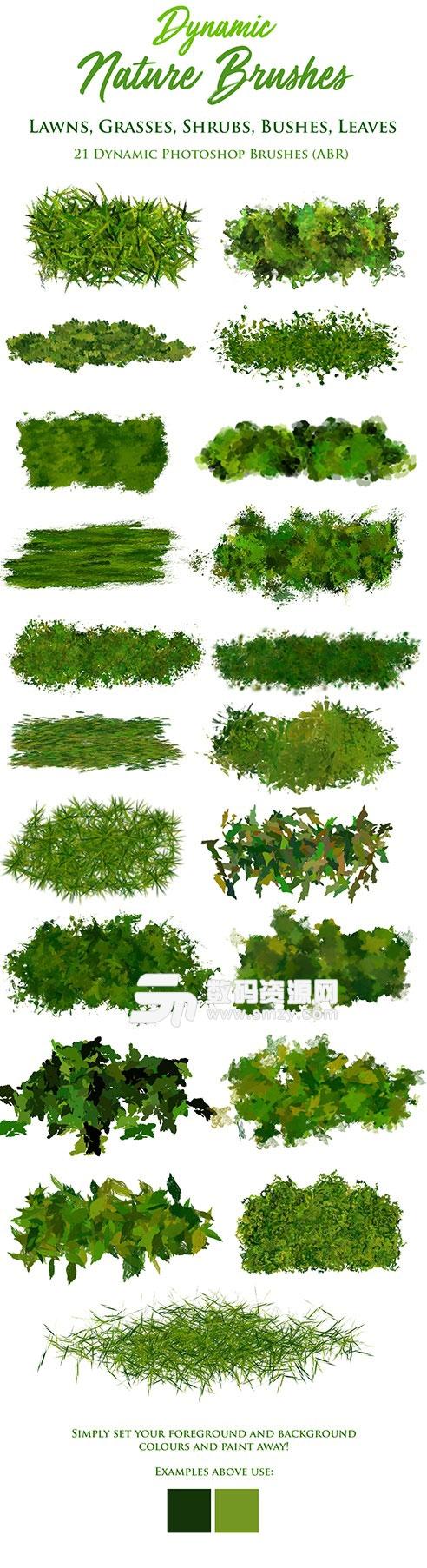 PS绿色草坪植被树叶笔刷下载