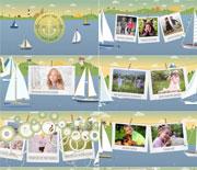 清新夏日卡通帆船家庭旅行假期AE相册模板