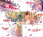 飞舞的爱心浪漫照片展示AE模板