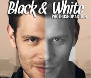 黑白人像照片后期处理PS动作