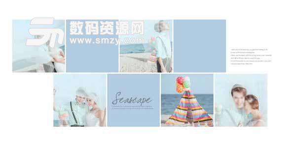 婚纱照设计模板 蓝色的海滩 02
