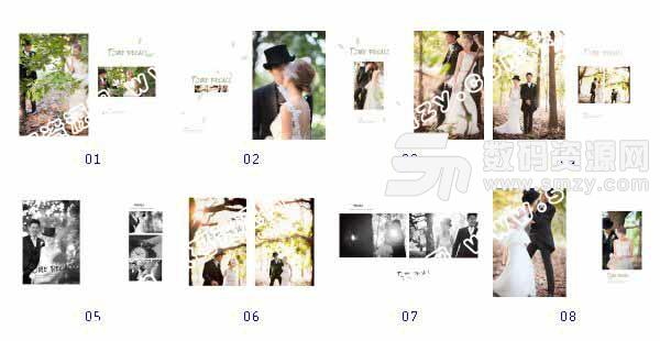 """""""婚纱照相册模板 时光记忆""""-全套JPG缩略图"""