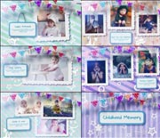 彩色童年儿童成长纪念相册AE模板