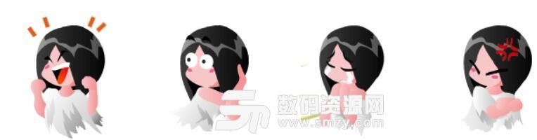贞子卡通形象动态表情包高清版(可爱的贞子卡通形象表情) 无水印版