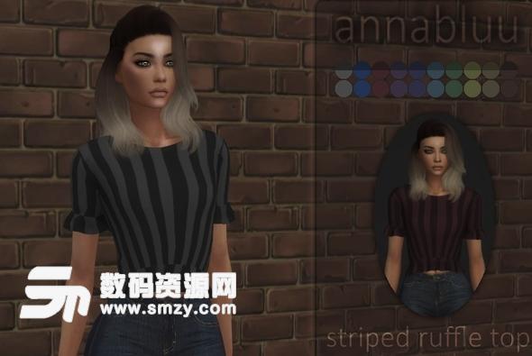 模擬人生4Annabluu的條紋荷葉邊上衣MOD