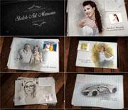 艺术素描彩铅画家庭纪念相册AE模板