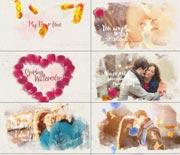 浪漫玫瑰花瓣水墨婚礼照片AE模板