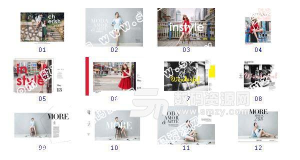 【摄影相册模板 时尚美女F】-整套JPG预览图