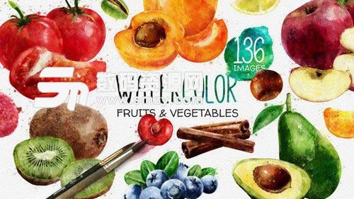 色彩鲜艳的蔬菜水果美食电视包装AE模板下载