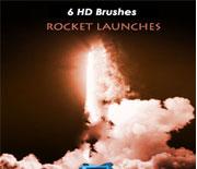 6款高清火箭发射烟雾笔刷