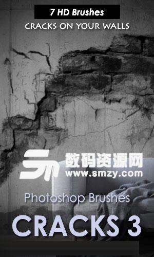 墙壁裂痕做旧效果PS笔刷下载