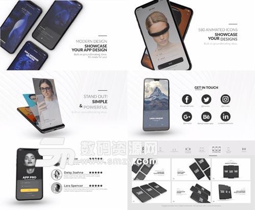 iPhoneX华为P20手机APP介绍AE模板下载