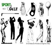 20个高尔夫剪影笔刷