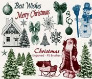 好看的圣诞装饰元素PS笔刷