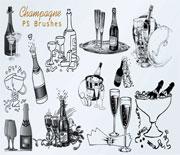 年会节庆香槟酒PS笔刷