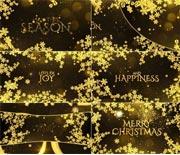 圣诞新年金色雪花枝叶开场文字动画AE模板