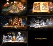 华丽复古圣诞节书籍翻页AE模板