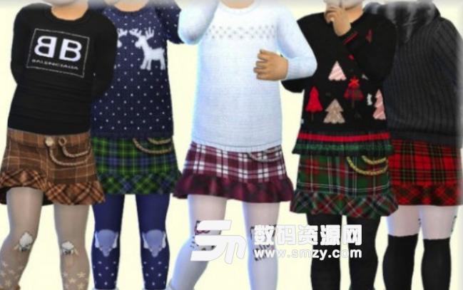 模拟人生4女孩格子短裙MOD
