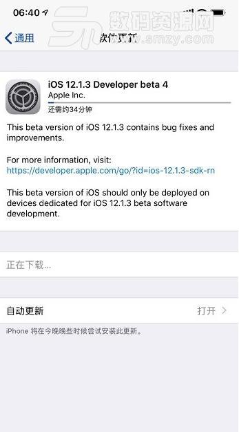 苹果iOS12.1.3测试版beta4固件包下载