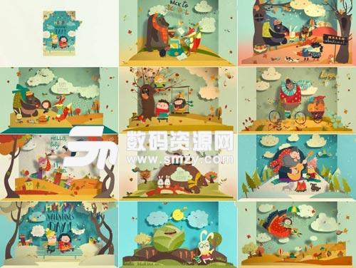可爱富有童趣的立体折纸儿童故事书AE源文件下载