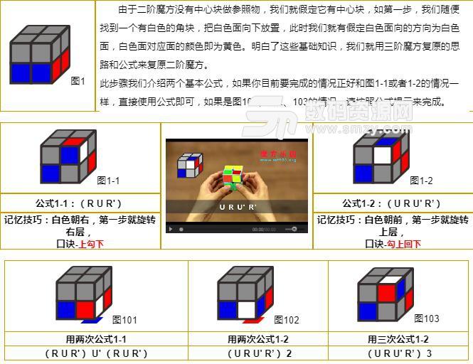 二阶魔方公式图解七步法|二阶魔方教程公式下载(魔方)