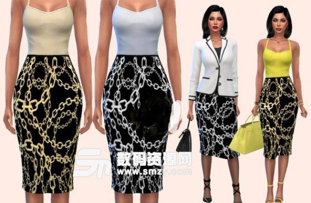 模拟人生4铁链图案长裙MOD