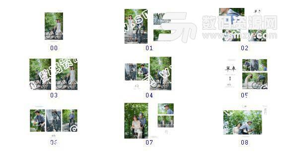 【婚纱照设计模板 单车情书】-整套JPG预览图