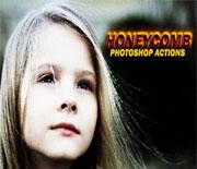 Photoshop蜂巢效果人像照片处理动作