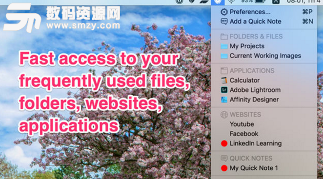 Shortcuts in Menu Bar Mac版