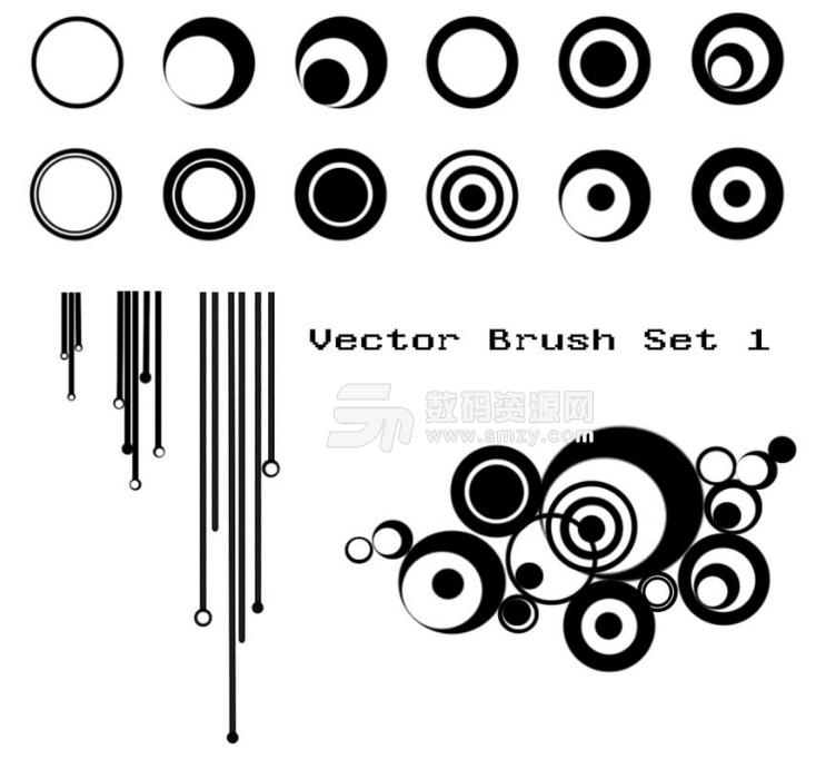 非主流时尚同心圆背景装饰元素PS笔刷素材
