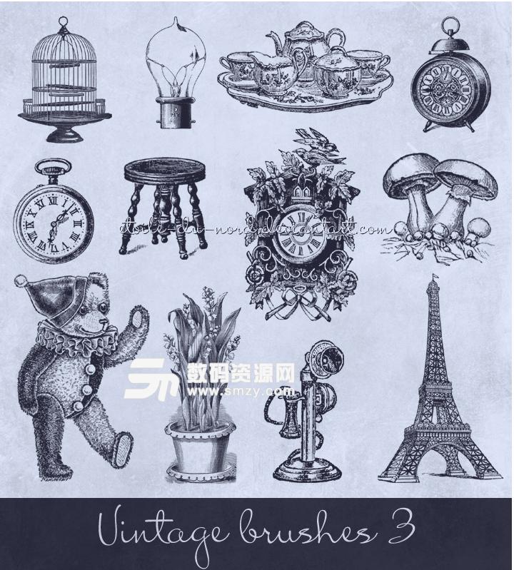 复古欧美生活元素鸟笼、电灯泡、餐盘组、闹钟、凳子、玩