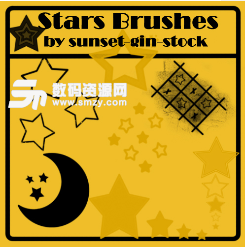 五角星、星星图案、月亮造型PS笔刷下载