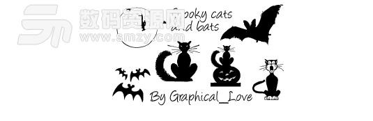 萬圣節蝙蝠圖形、黑貓卡通剪影PS筆刷素材下載