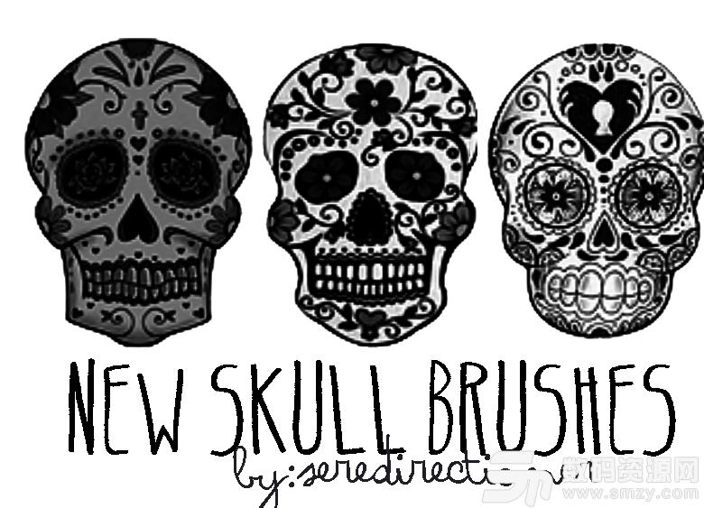 花式骷髅头花纹图案Photoshop恐怖艺术笔刷