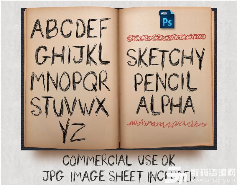 手劃線涂鴉式英文字母Photoshop筆刷素材下載