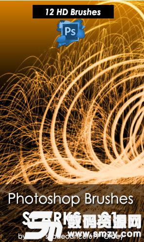 漂亮的火花濺射、絢麗火光Photoshop光影特效筆刷素材