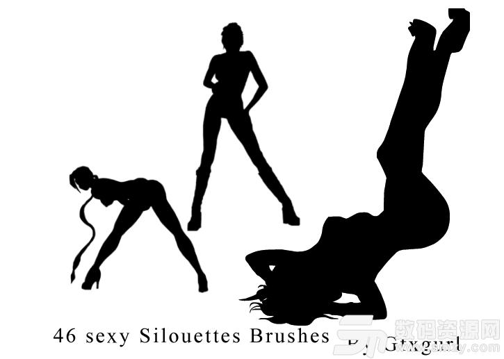 性感撩人的女性模特姿势PS剪影图像素材笔刷