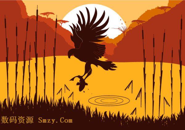 老鹰抓鱼剪影矢量图片素材