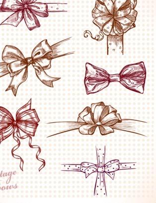 手绘蝴蝶结图片主题矢量素材