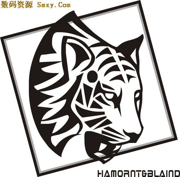 首页 资源下载 平面素材 矢量素材 动物 > 方形框内黑白老虎头图案