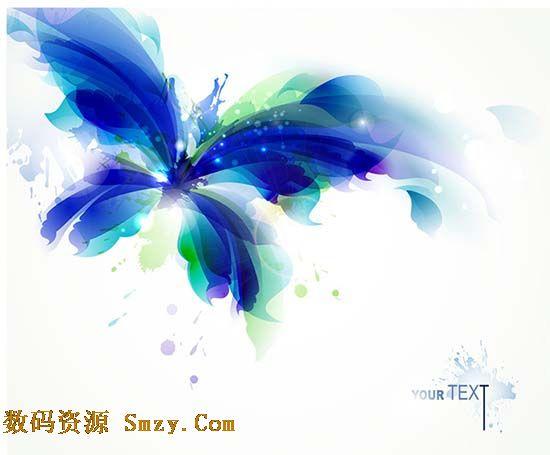 唯美蓝色梦幻水彩蝴蝶设计矢量素材