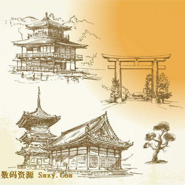手绘古代建筑树木背景矢量素材