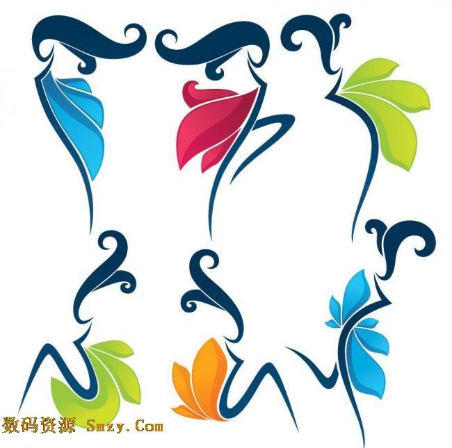 这张 创意彩色线条花纹舞蹈美女矢量素材用多种简约线条绘制了舞蹈的