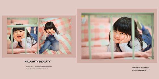 共使用儿童照片三张,采用粉色调作为本张儿童相册模板背景的主色调