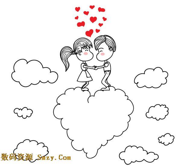 卡通手绘云朵上的情侣爱心矢量素材
